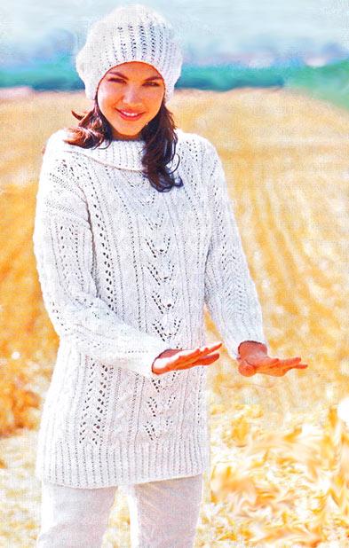 ажурный пуловер спицами и шапка