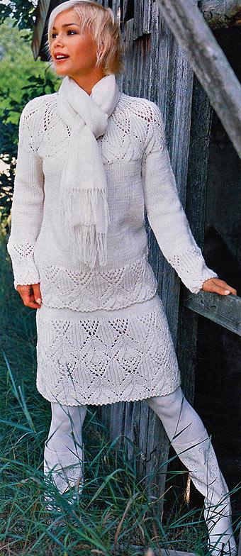 ажурный пуловер и юбка спицами