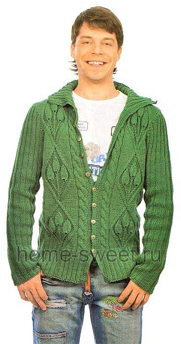 Теплый мужской жакет - вязание спицами
