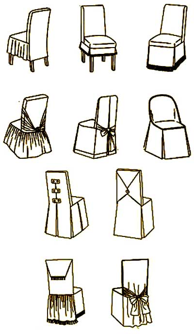 Варианты оформления чехлов на стулья