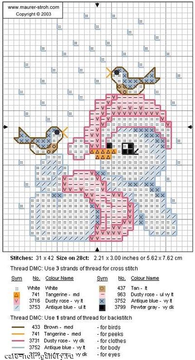 Схема вышивки снеговика с птичками