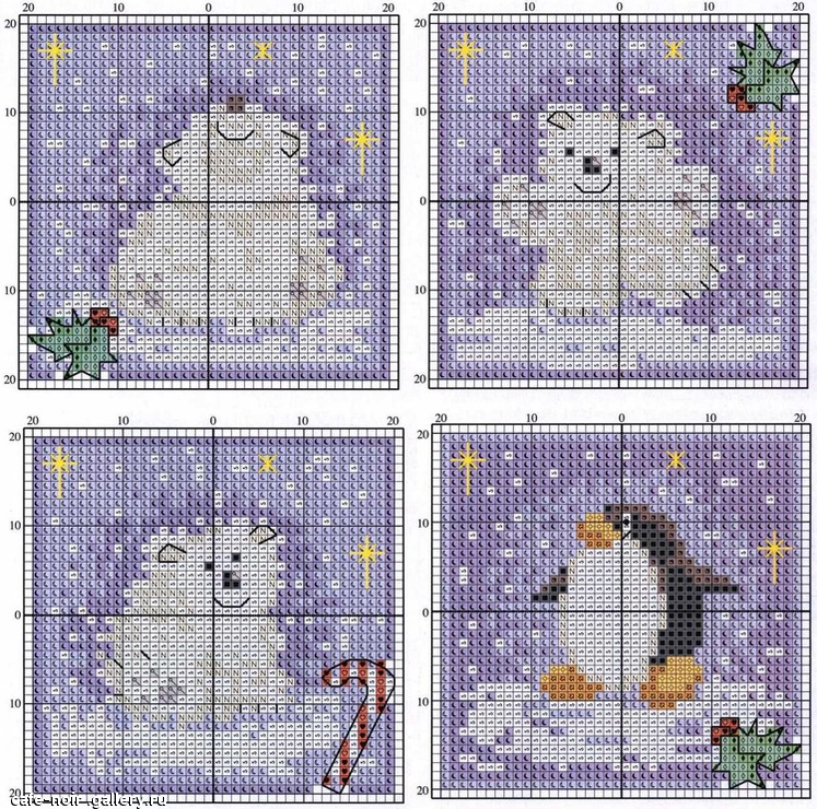 Схема вышивки пингвина и белого медведя