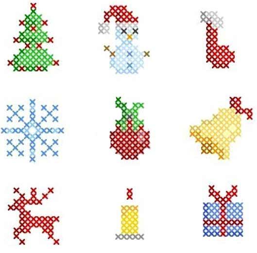 вышивка новогодние игрушки простые схемы
