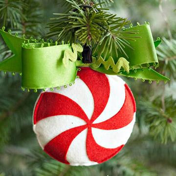 Новогодняя игрушка конфетка из фетра