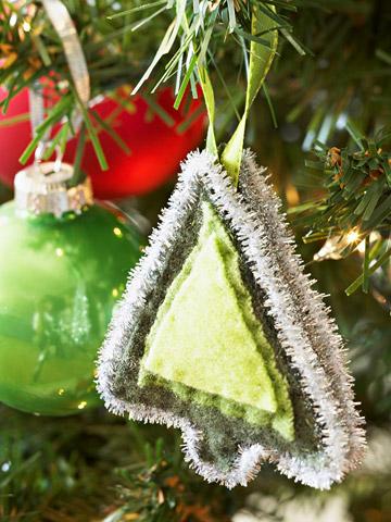 Новогодняя игрушка елочка из фетра
