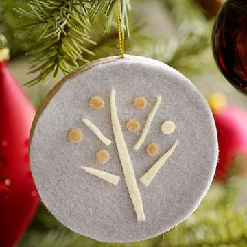 Новогодняя игрушка деревце из фетра