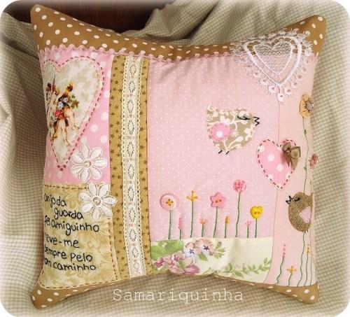 Идея розовой подушки пэчворк