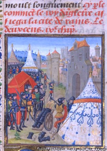 Edward III of England besieging Reims (1359/60).  (BNF, FR 2643)   Jean Froissart, Chronicles fol. 253 Flandres, Bruges 15th Century. (100 x   90 mm)