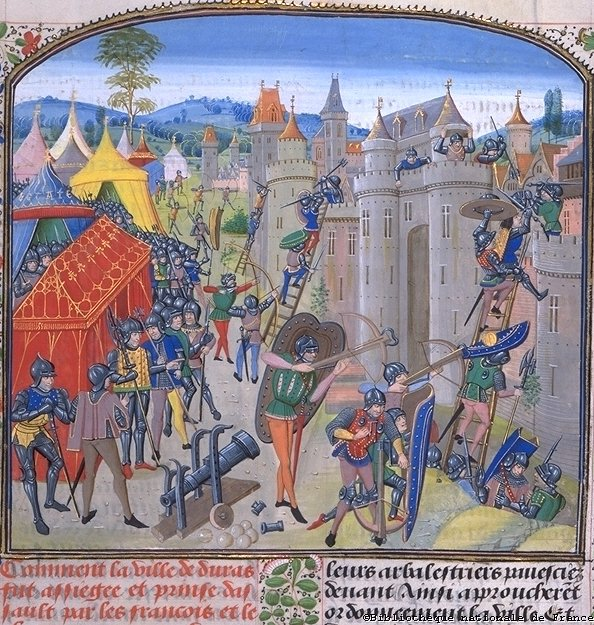 The French lay siege to Duras (1377).  (BNF, FR 2644) Jean Froissart, Chronicles fol. 9 Flandres, Bruges 15th Century. (185 x 200 mm)