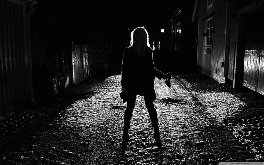Creepy Girl Silhouette in Street