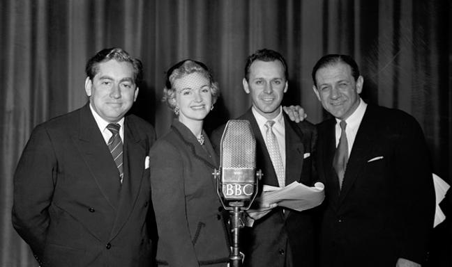 Cast of Hancock's Half Hour with BBC microphone