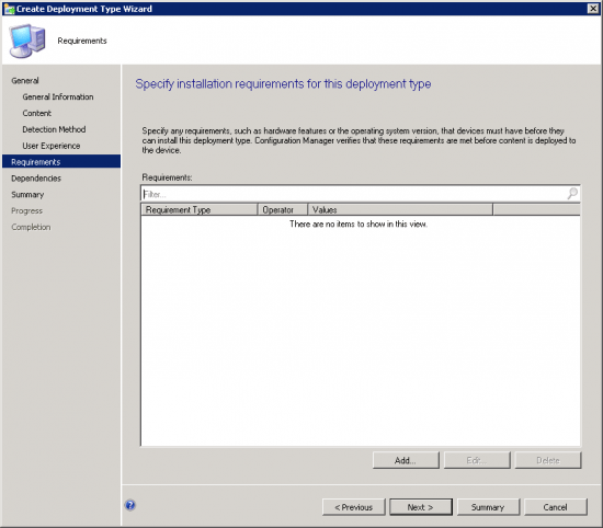 Requirements Page of the Create Deployment Type Wizard