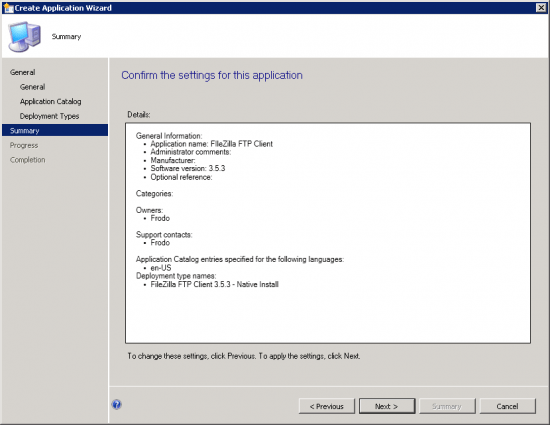 Summary Page of the Create Application Wizard