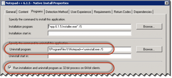 Programs Tab in Deployment Type for 32-bit application installer