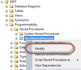 Modify Retrieve Packages Stored Procedure