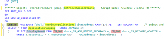 Retrieve Applications Stored Procedure