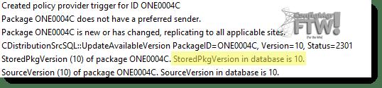 The test package version number in distmgr.log