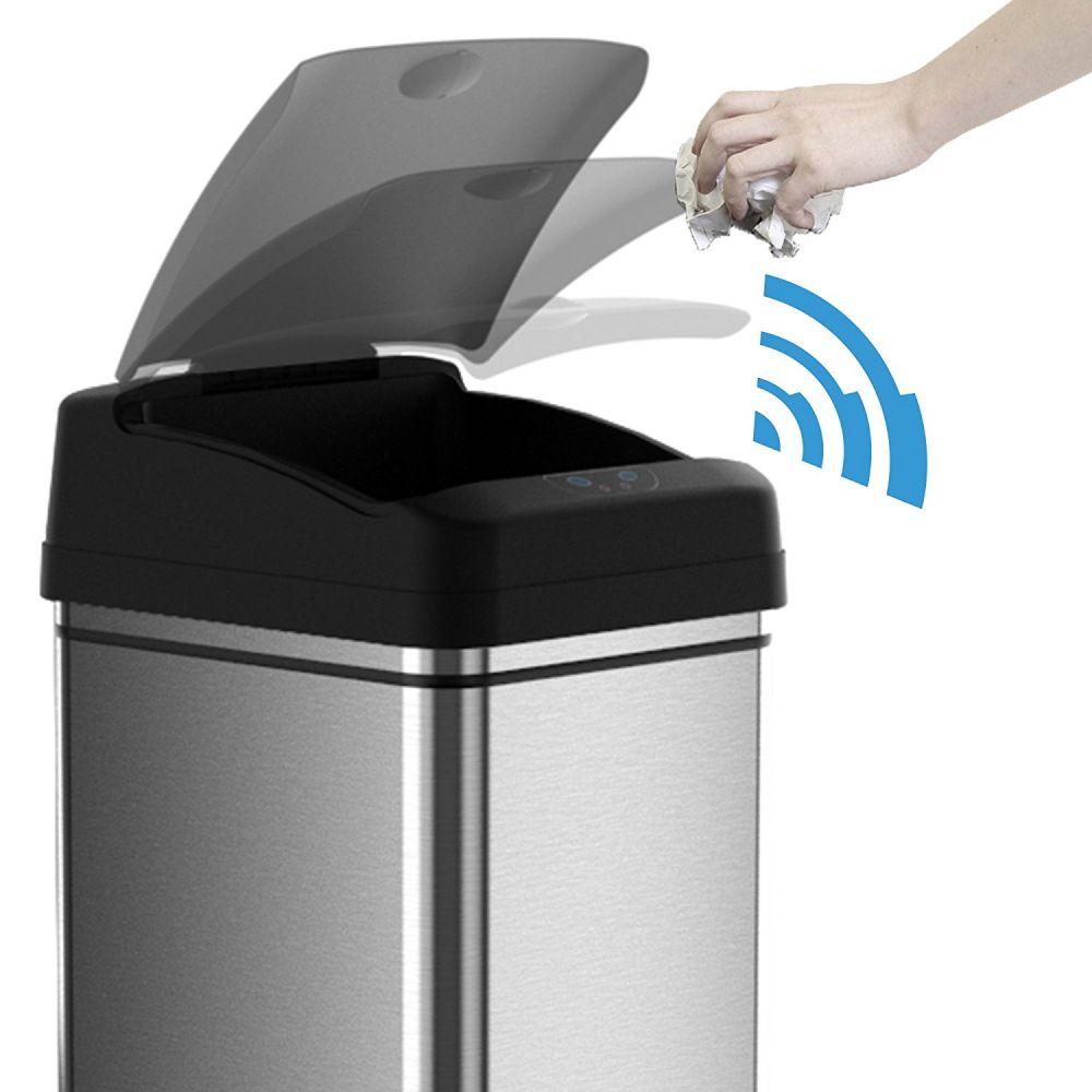 13 gallon kitchen trash can replacing cabinets 自动感应方便卫生 itouchless除臭不锈钢垃圾桶海外省钱快报 中文版 现代设计适用于厨房或办公室 矩形形状适合狭小的空间和角落 不占用过多空间 适合普通13加仑垃圾袋