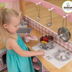Kid Craft Kitchen Table High Top 精美小厨房 Kidkraft 粉色角落木厨房玩具套装海外省钱快报 中文版 Kidkraft的玩具口碑非常好 制作精良 注重细节 让小朋友玩角色扮演游戏时更加投入 这套角落厨房包括洗碗机 焗炉 微波炉 冰箱等 都可以开门 还有可以拿出来清洗