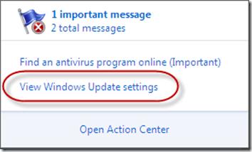 Windows Action Center Non-default