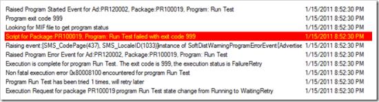 execmgr.log Shows Exit Code 999