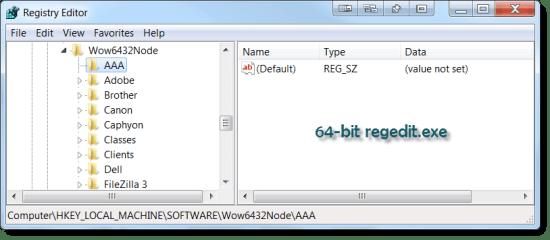 New key in 64-bit regedit.exe