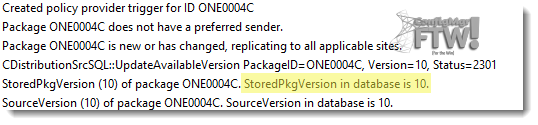 The test package version number in distmgr.log