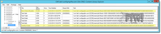The test package in Content Library Explorer