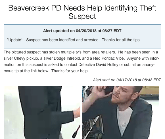 Beavercreek PD needs help Identifying Theft Suspect