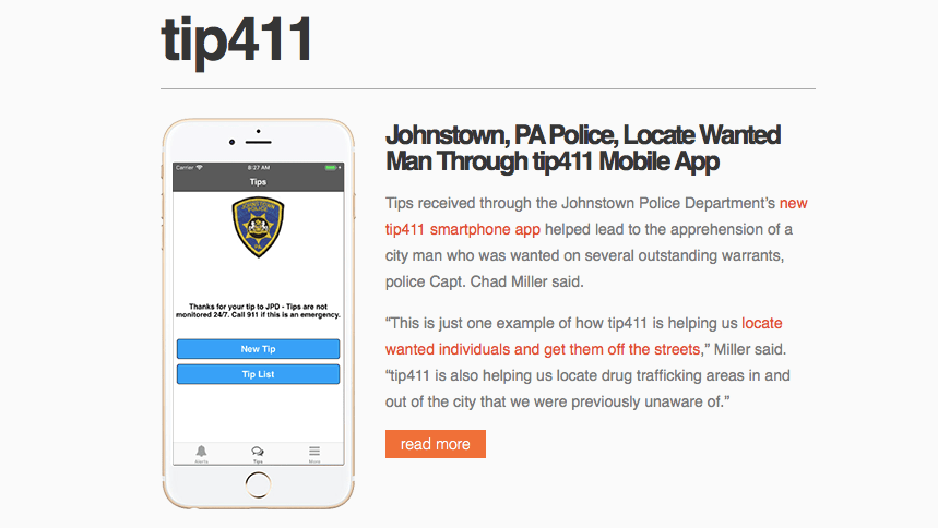 Johnstown PA Police Locte Wanted Man Through tip411 Mobile App