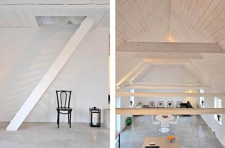 แบบบ้านชั้นเดียว ห้องใต้หลังคา สีขาวน่าอยู่