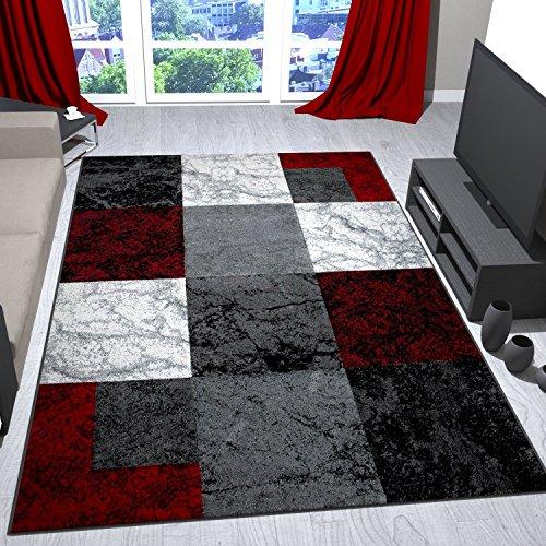 Wohnzimmer Teppich Modern Schwarz Rot Grau Marmor Stein Optik Velours  VIMODA  Mbel24