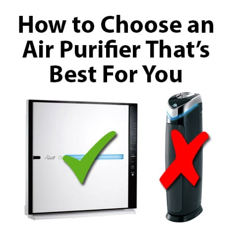 Graphic of an Air Purifier with a Check Mark Over it and Another With an X Over it