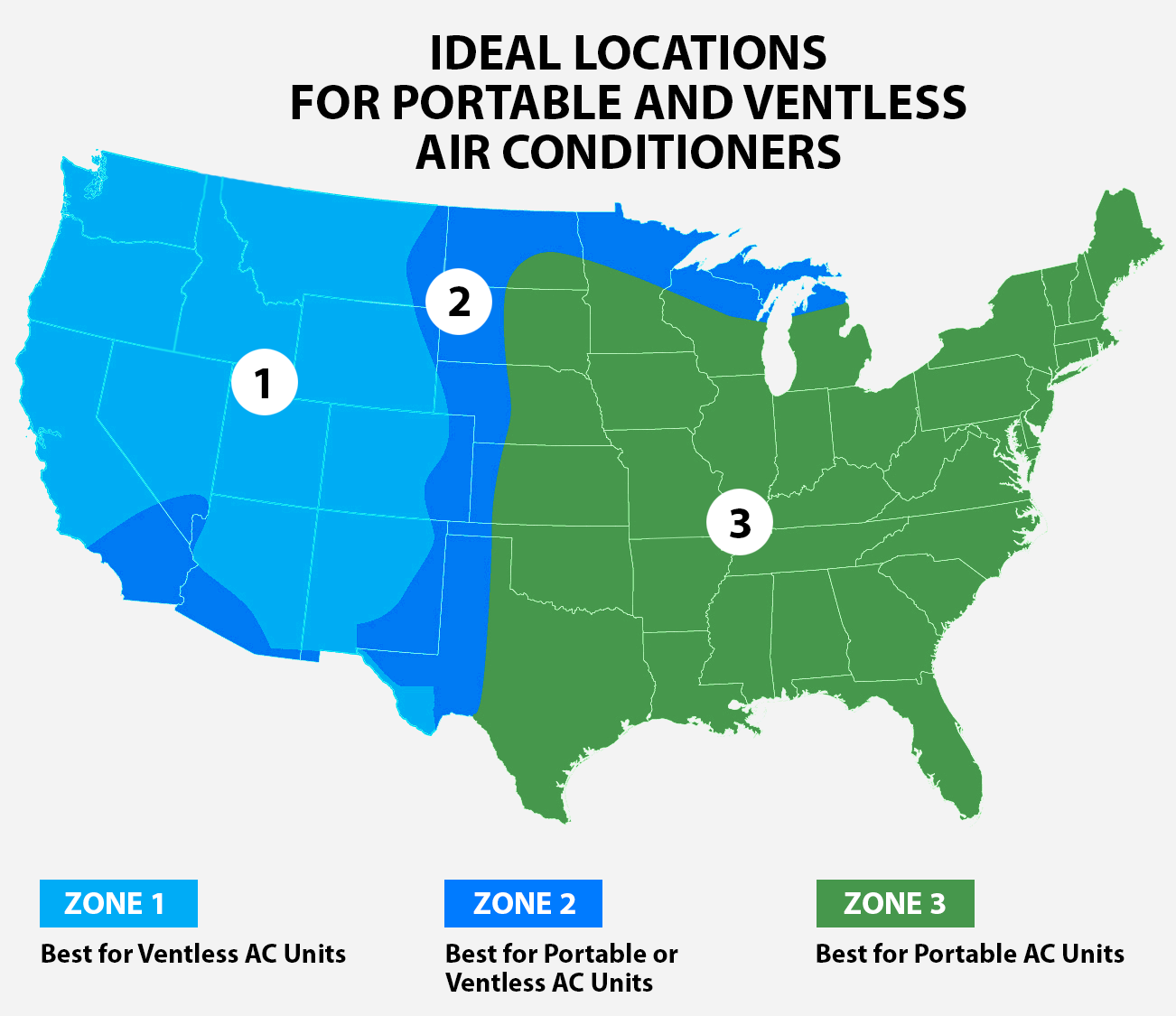 Map showing which regions of the U.S. are best for portable air conditioners versus ventless air conditioners