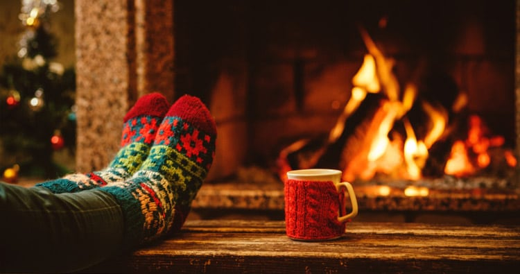 Photo of Fireplace and Warm Socks