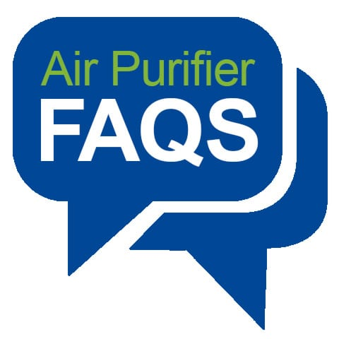 Graphic of Speech Bubbles with Air Purifier FAQs Text