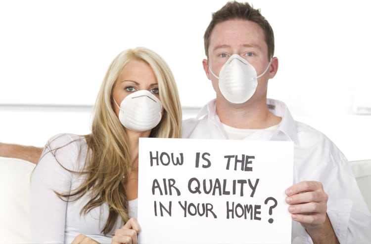 Photo of a couple on couch wearing dust masks