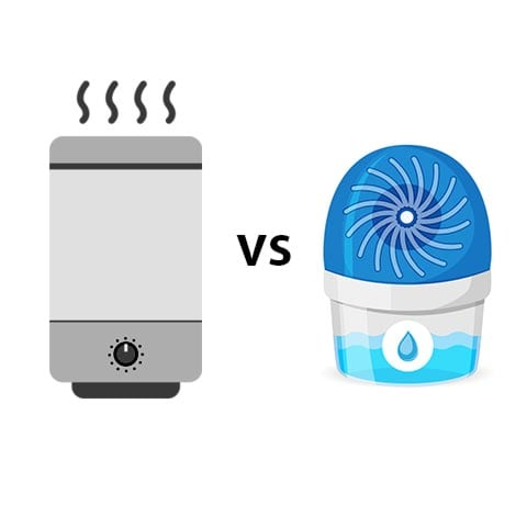 Graphic of air purifier vs dehumidifier