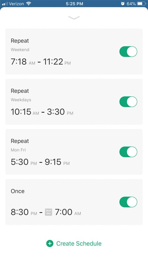 App screen for weekly schedule