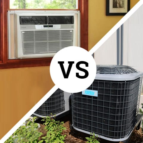 Photo of a window air conditioner vs central air conditioner