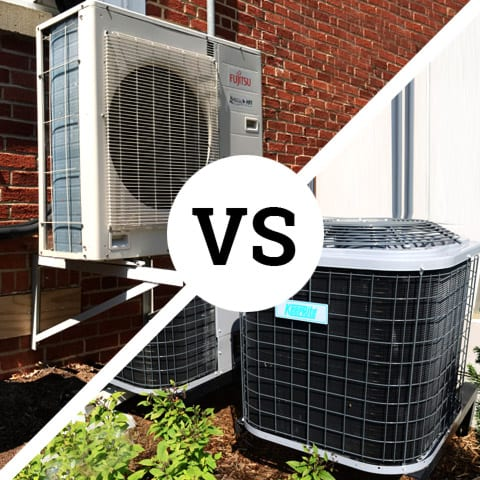 Photo of a ductless mini split air conditioner vs central air conditioner