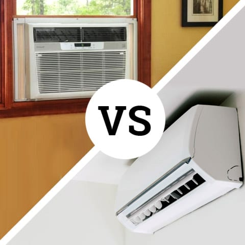Photo of a ductless mini split vs window AC unit