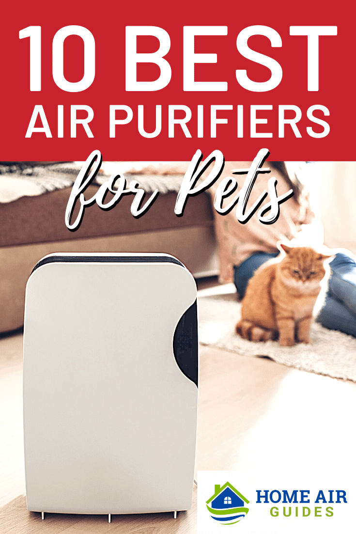 10 Best Air Purifiers for Pet Dander, Hair and Odors: Pinnable image by Home Air Guides