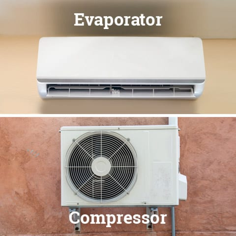 Split system air conditioner components