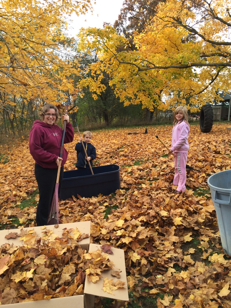 Raking Leaves at our rental