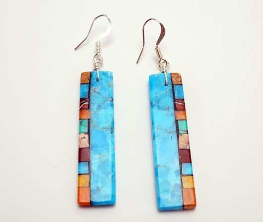 Mary Tafoya Double Side Mosaic Earrings