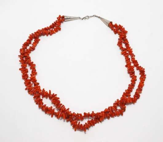 Vintage two strand coral necklace