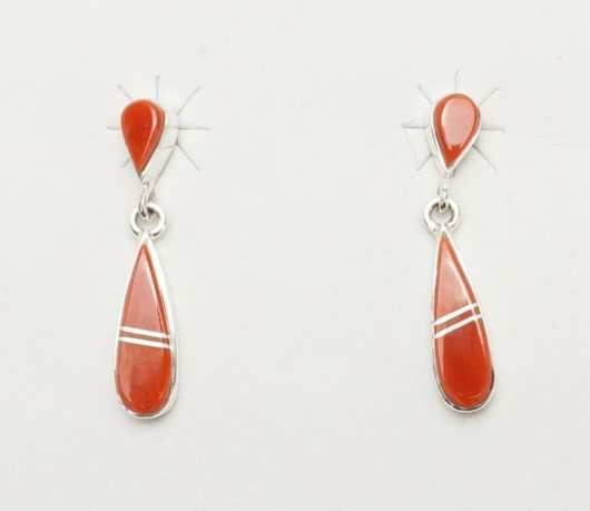 Earl Plummer double drop coral earrings