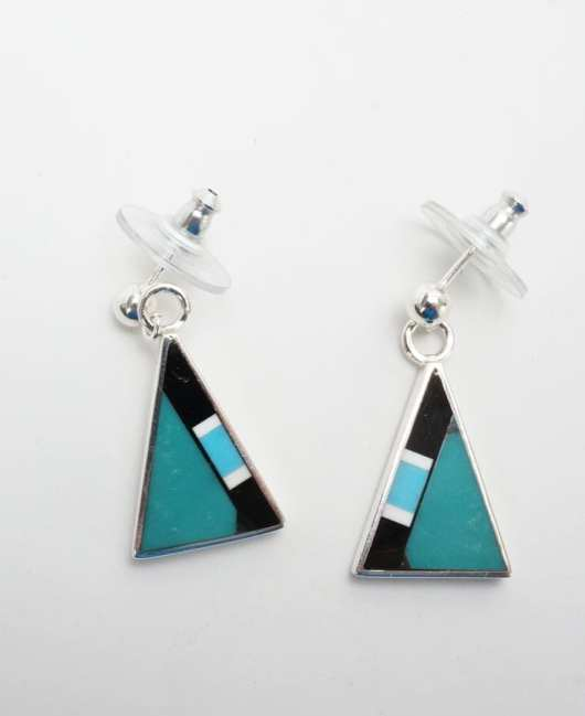 Herb and Veronica Thompson small inlaid Triangular Inlaid Earrings 2