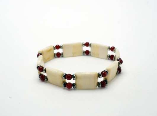 Teresa Mae Anderson ivory bracelet - red beads
